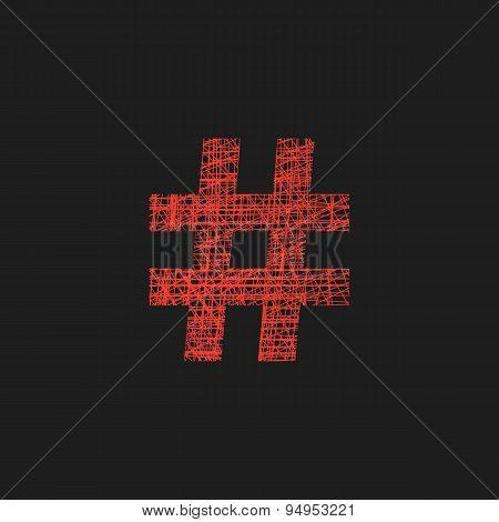 red hashtag icon in sketch style