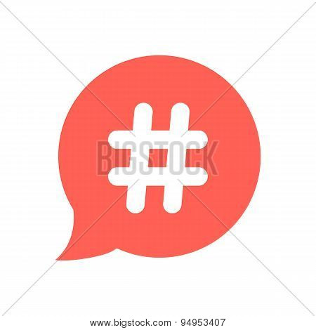 white hashtag icon in red speech bubble