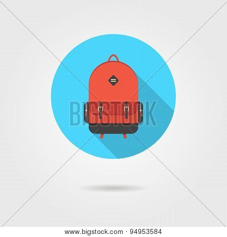 red backpack in blue circle with shadow