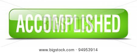 Accomplished Green Square 3D Realistic Isolated Web Button