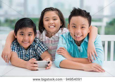 Joyful schoolchildren