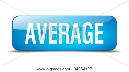 Average Blue Square 3D Realistic Isolated Web Button