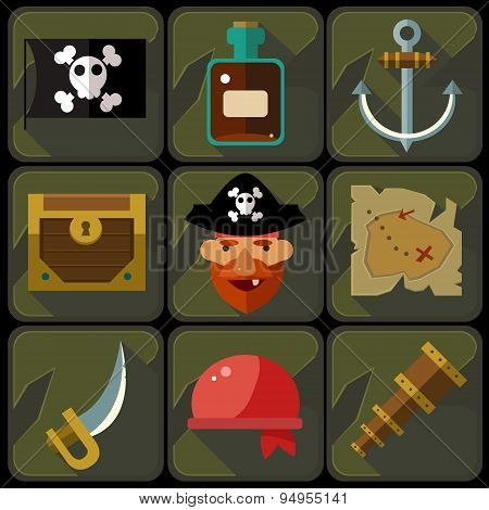 Vector Color Flat Icons Set and Illustrations Pirate