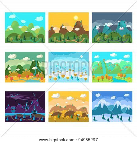 Vector Landscape Cartoon Seamless Backgrounds Set