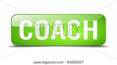 Coach Green Square 3D Realistic Isolated Web Button