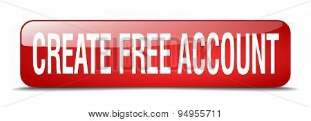 Create Free Account Red Square 3D Realistic Isolated Web Button