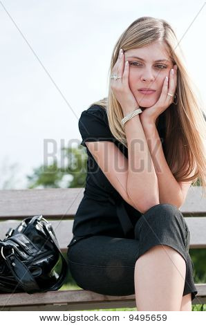 In Troubles - Depressed Young Woman