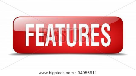 Features Red Square 3D Realistic Isolated Web Button