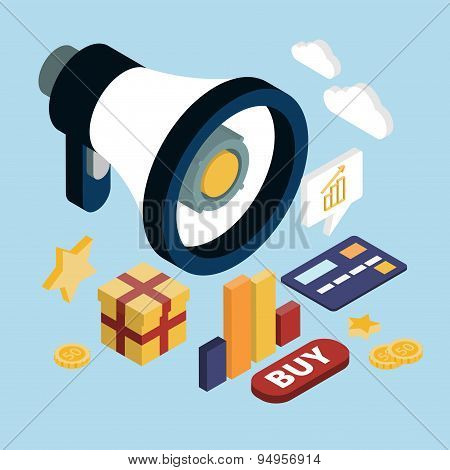 Promotion Online Marketing Flat 3d Web Isometric