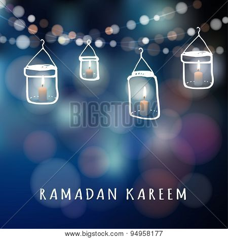 Illuminated Jar Lanterns With Candles And Lights, Ramadan Vector