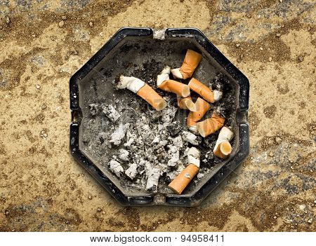 Ashtray With Cigarette Stubs