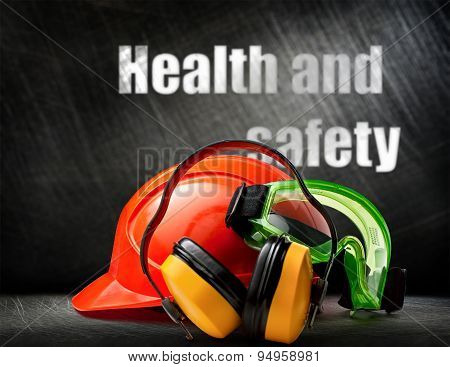 Red Helmet With Earphones And Goggles