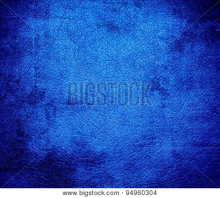 Grunge background of azure leather texture