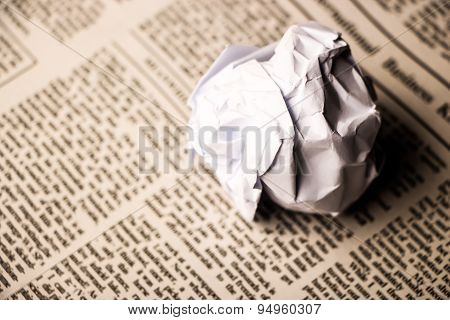 Paper Ball On Newspaper