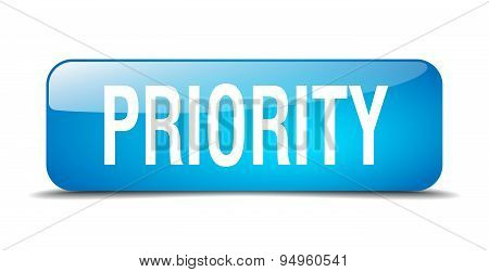 Priority Blue Square 3D Realistic Isolated Web Button