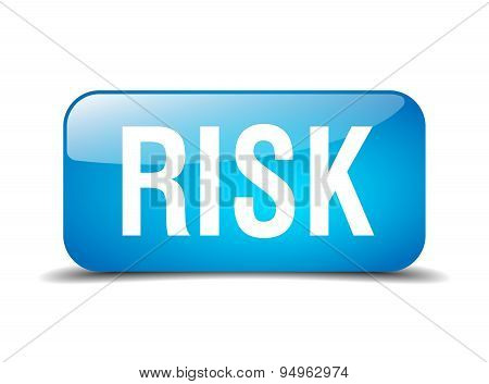 Risk Blue Square 3D Realistic Isolated Web Button