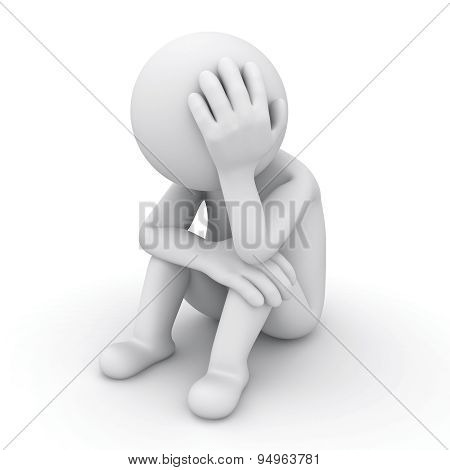 Sad 3d man sitting isolated on white background