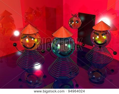 many smile at the disco 3D
