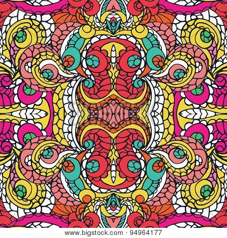 Multicolor swirl ethnic seamless pattern.Abstract symmetry