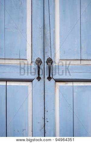 Wooden Door With Handle Close Up