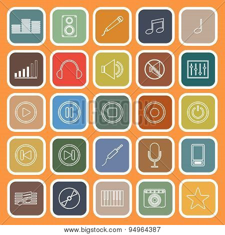 Music Line Flat Icons On Orange Background