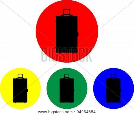 Suitcase On Wheels Icon Set