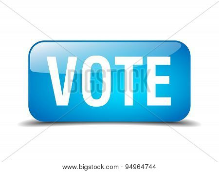 Vote Blue Square 3D Realistic Isolated Web Button