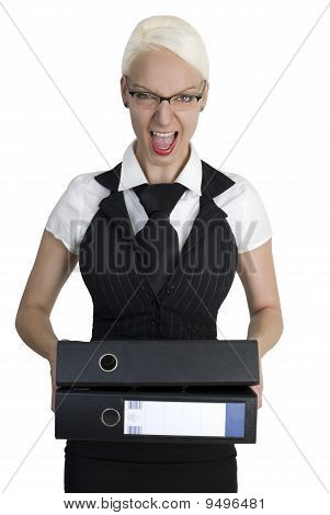 Angry Business Woman With Folders In Her Hands.