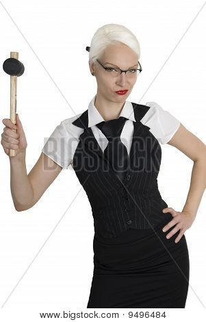 Young Business Woman With A Hammer In Her Hand