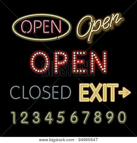 Open Neon Sign Closed Exit Figures Vector