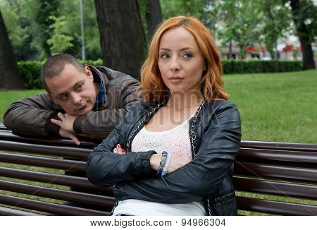 Young Man And Woman Angry And Conflicting