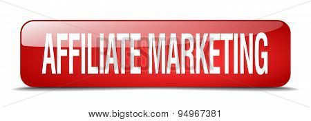 Affiliate Marketing Red Square 3D Realistic Isolated Web Button