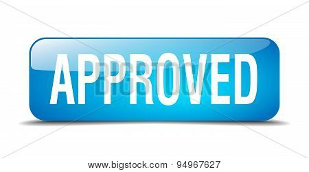 Approved Blue Square 3D Realistic Isolated Web Button