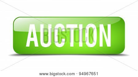 Auction Green Square 3D Realistic Isolated Web Button