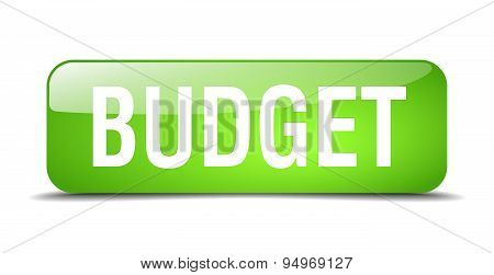 Budget Green Square 3D Realistic Isolated Web Button