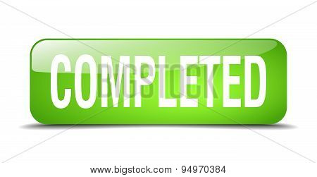 Completed Green Square 3D Realistic Isolated Web Button