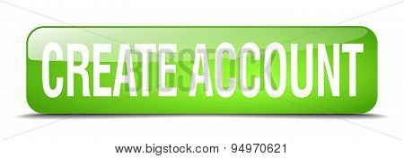 Create Account Green Square 3D Realistic Isolated Web Button