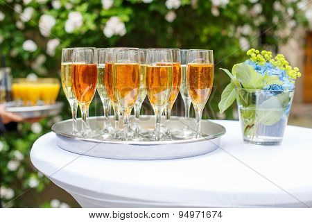 Dish With Champagne And Wine Glasses