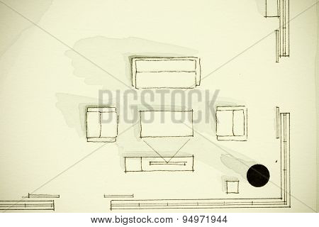Black and white watercolor living room partial floor plan