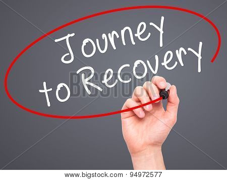 Man Hand writing Journey to Recovery with black marker on visual screen.