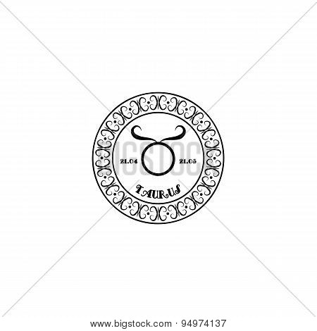 black and white sign Taurus in vintage style on a white background