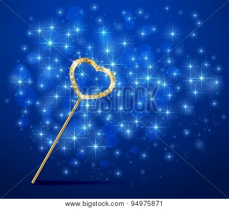 Magic Wand With Heart On Blurry Background