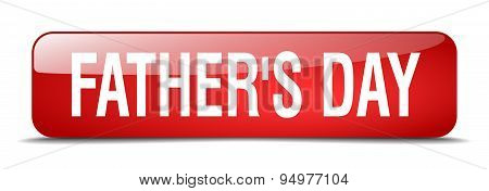 Father's Day Red Square 3D Realistic Isolated Web Button