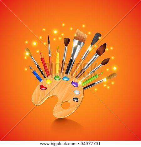 Palette And Brushes On Orange Background