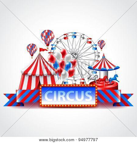 Circus Fun Fair Carnival Vector Background