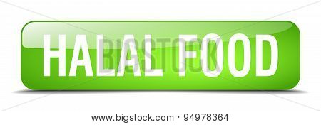 Halal Food Green Square 3D Realistic Isolated Web Button