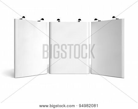 Trade show booth mock-up. Vector isolated on white background