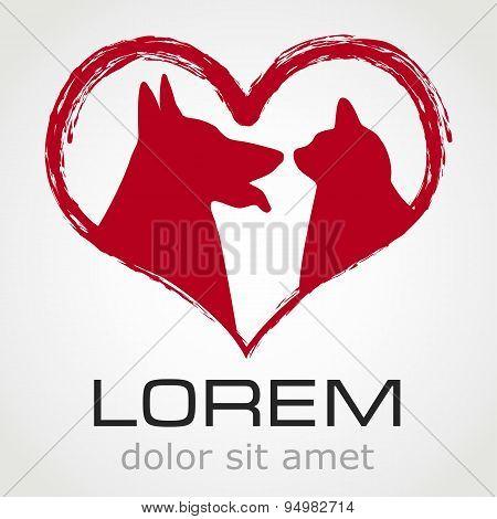 cat and dog symbol - vector illustration