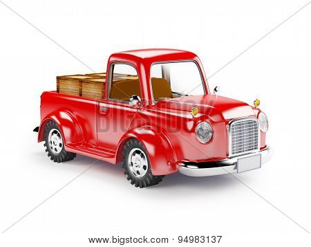 red old truck loaded
