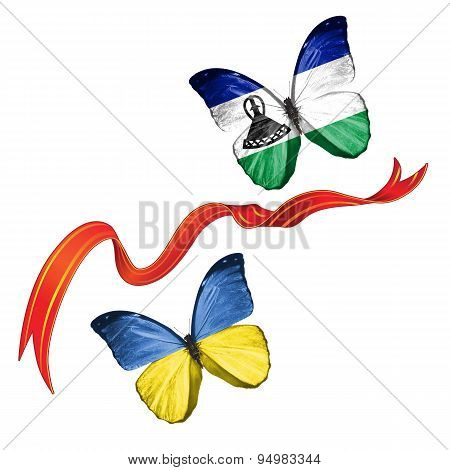 Two butterflies with symbols of Ukraine and Lesotho
